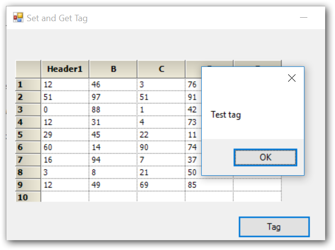 Showing tag in Grid control