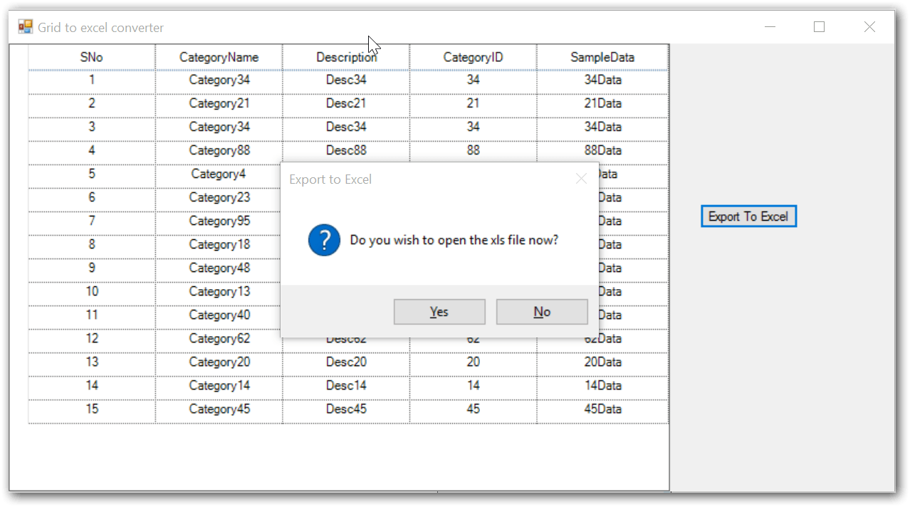Show the exporting dialog box
