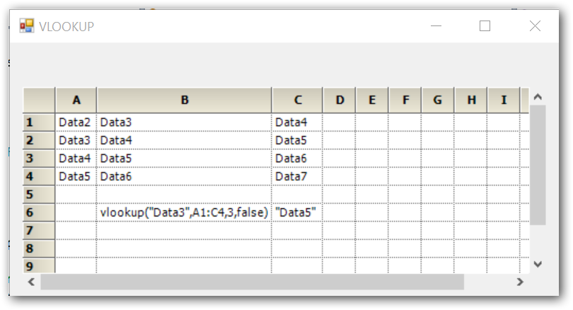 Show the VLoopkup formula in grid