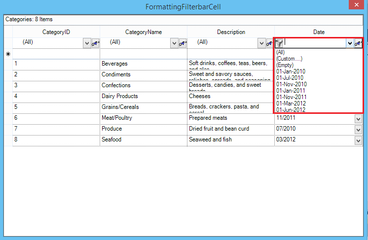 Show the formatting data style in filter bar