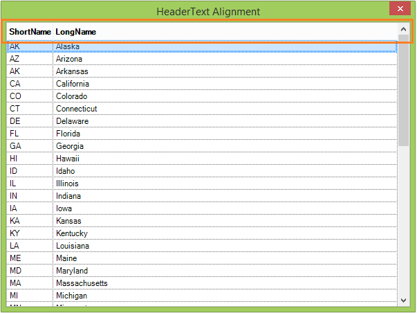 Align the header text in GridListControl
