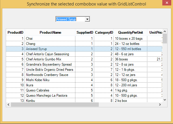 Synchronize the selected combobox value with GridListControl