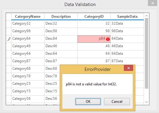 Showing error message for Data Validation