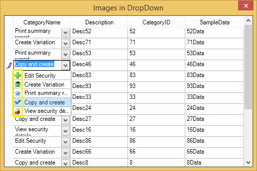 Images in dropdown GridListControl cell