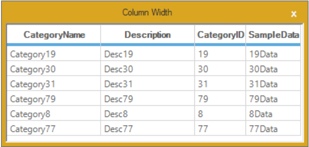 Set the column width in GridListControl