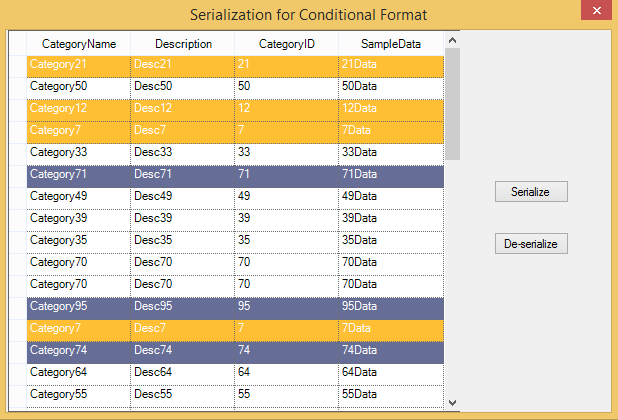 Serialization for conditional format