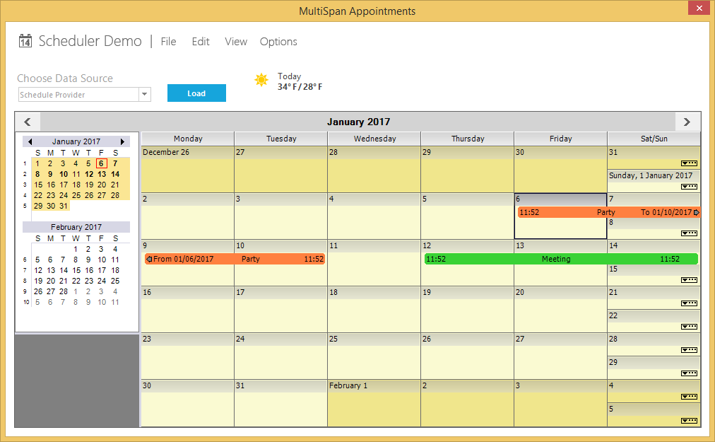 Show the multi span appointments
