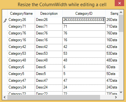 Resize the column width while editing a cell