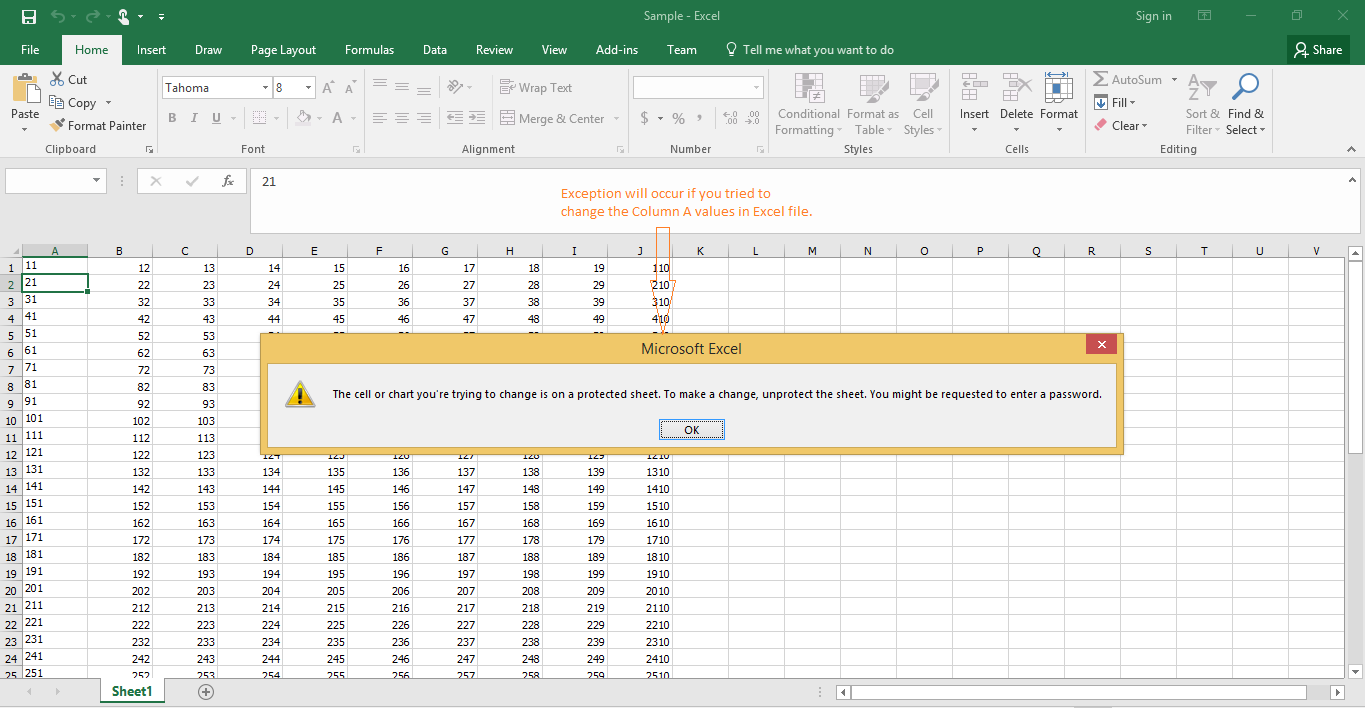 Showing message box for exception while changing the column in excel