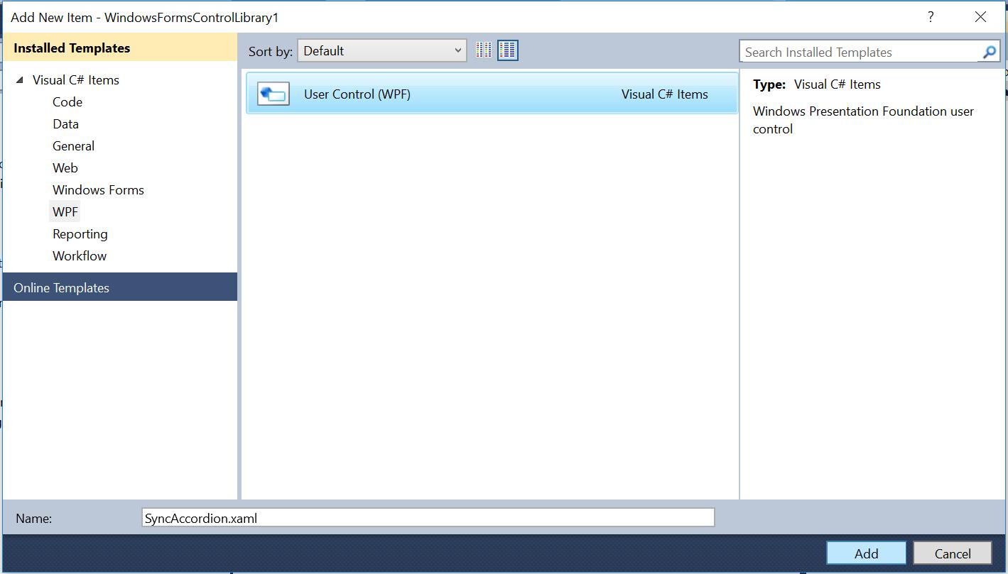 Add Xaml file into new application