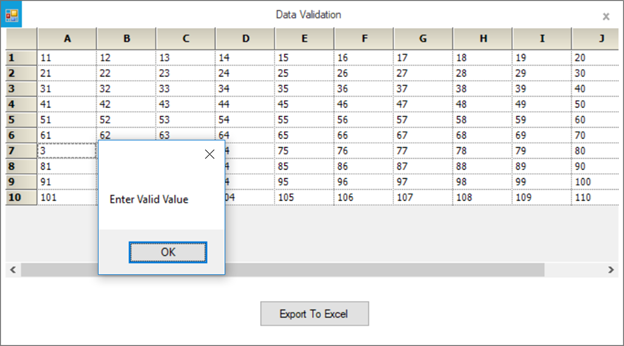 Showing cell validation in grid