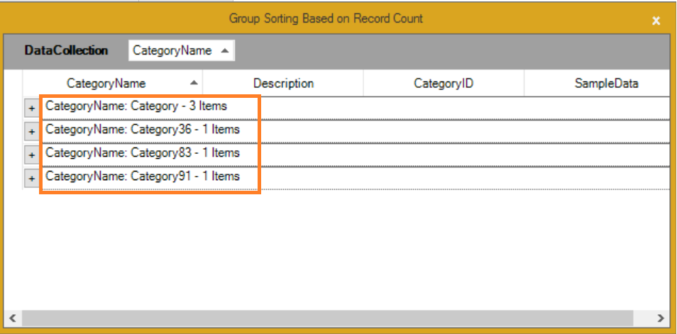 Group sorting based on the record count
