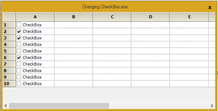 Showing change the CheckBox size