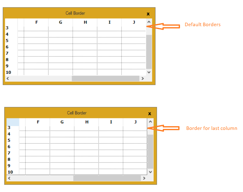 Showing default border and new border for last column in grid