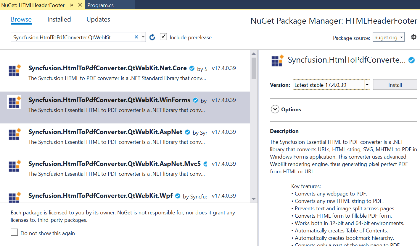 Install NuGet packages.