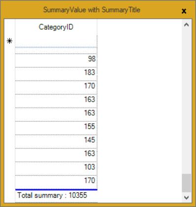 Summary value with summary title