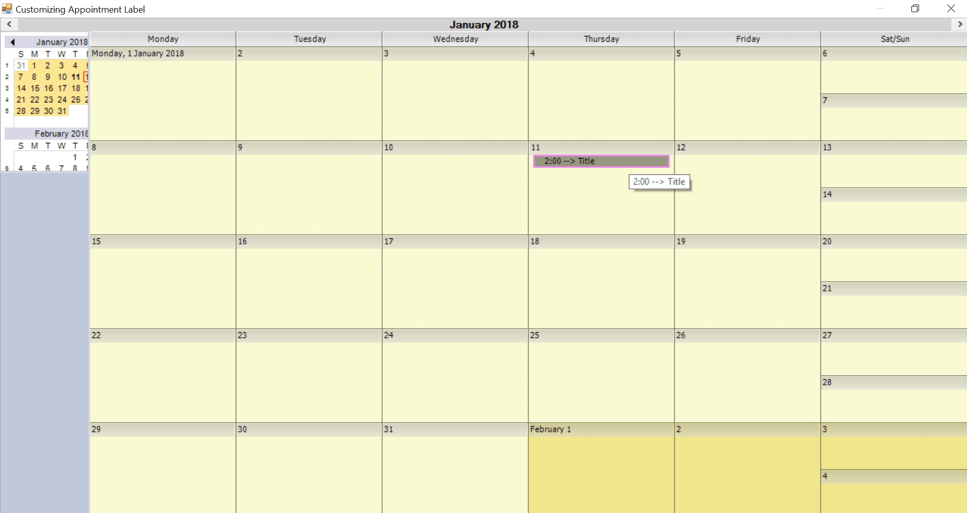 Change the label of appointments in the calendar