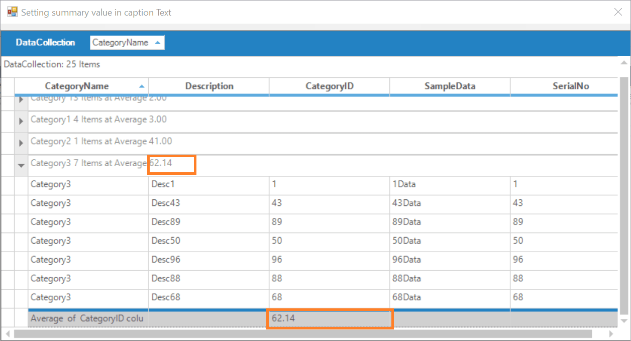 Setting summary value in caption text