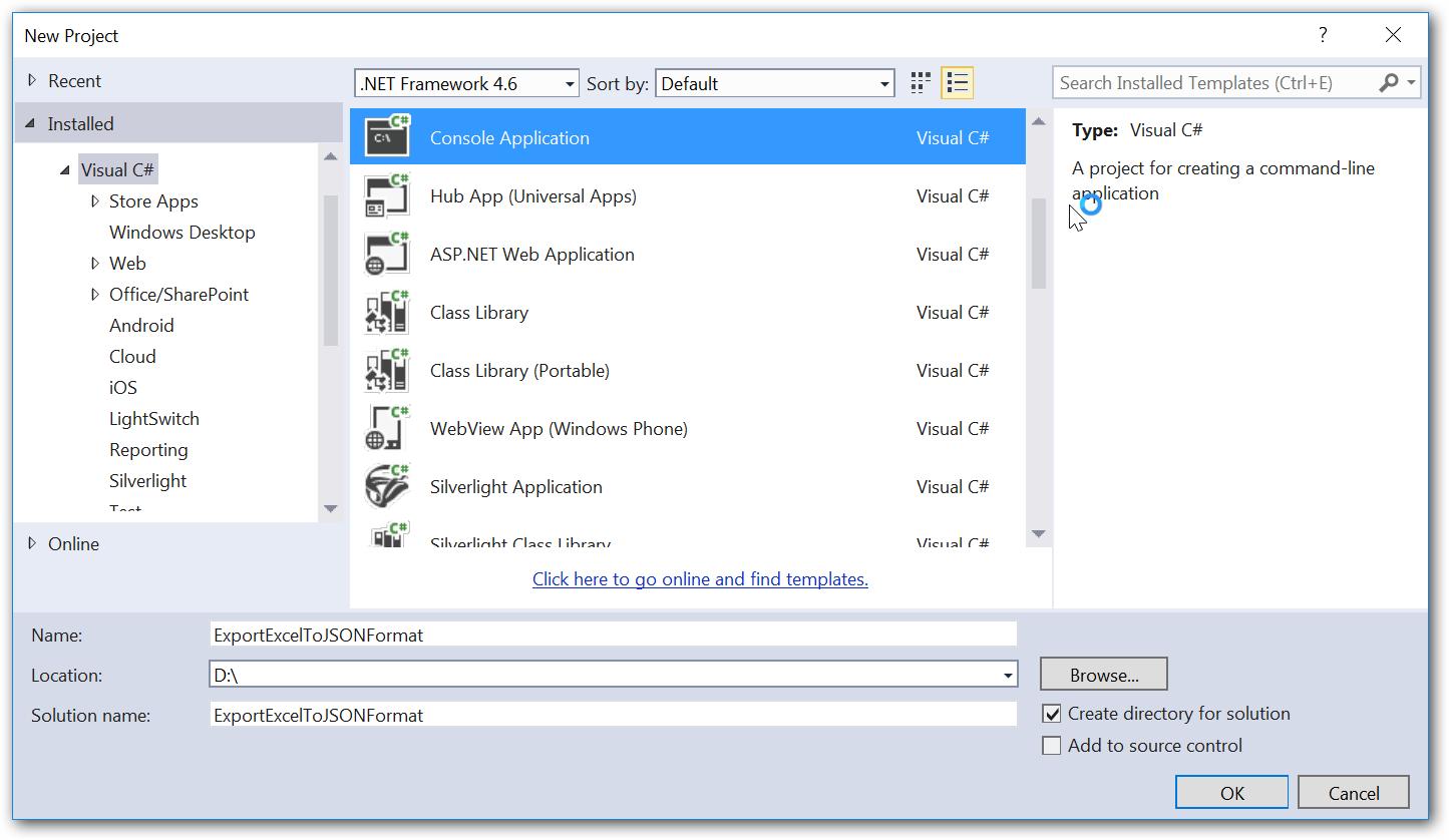 Create new empty console application in visual studio