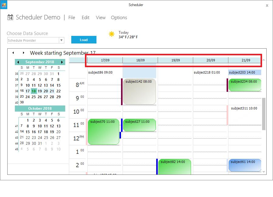 Show the workweek view in header of schedule