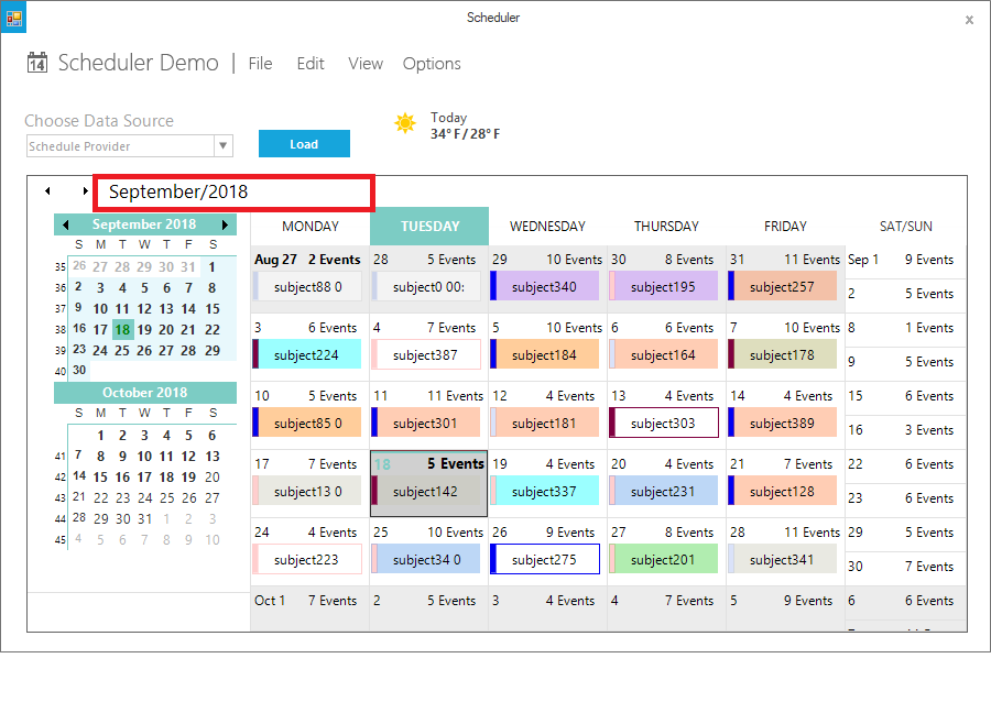 Show the monthview in header of schedule