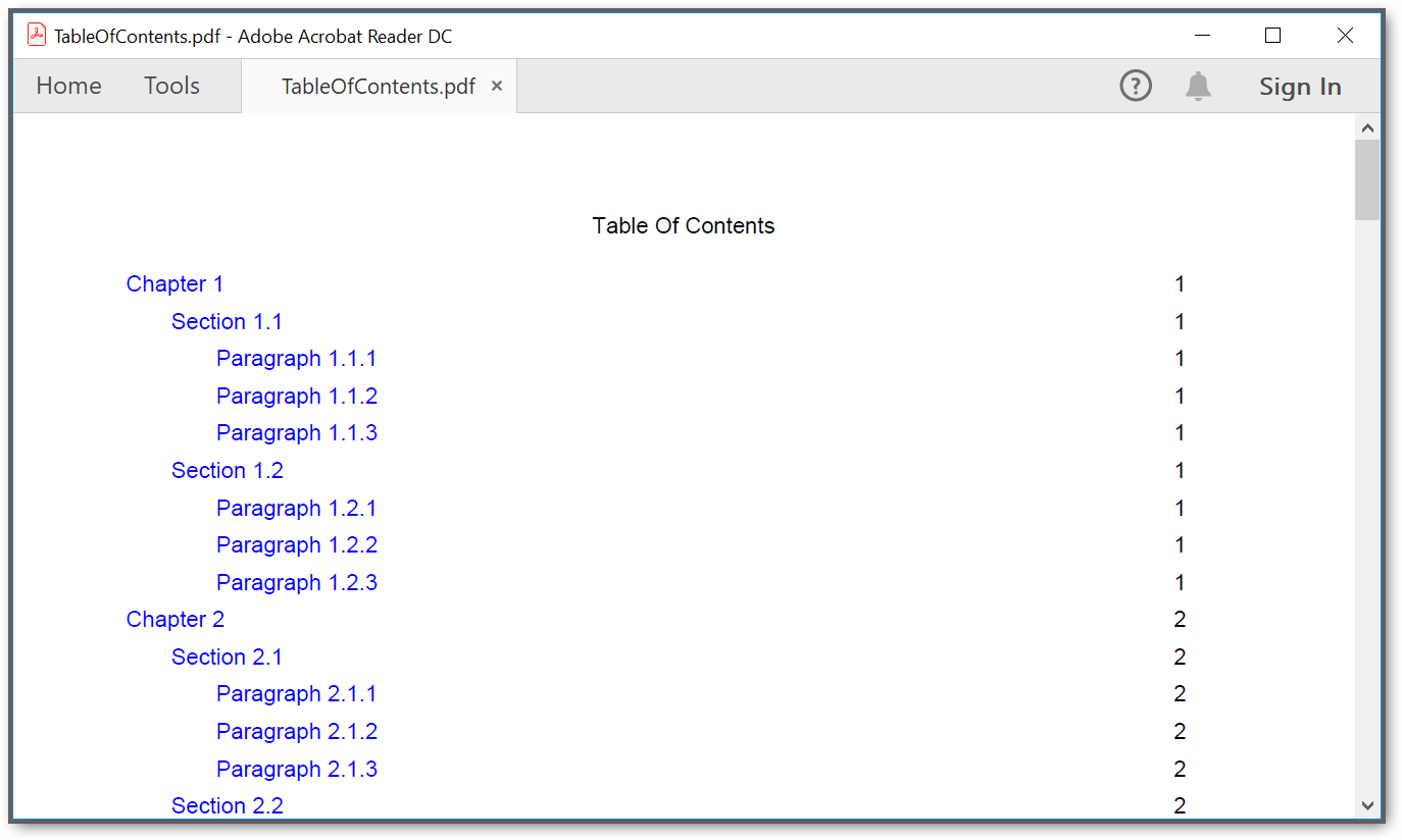 Screenshot of output PDF file