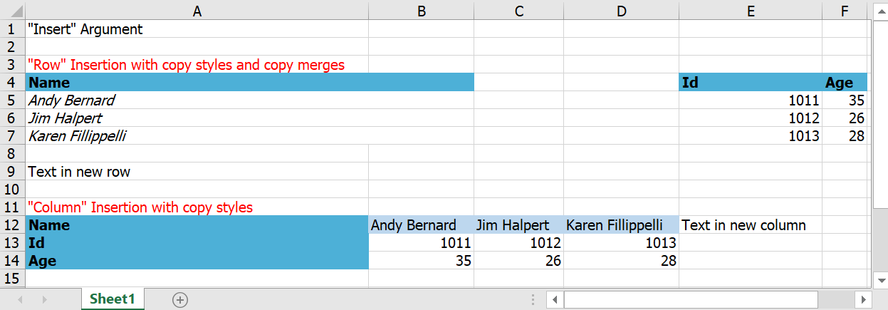 Document generated using template markers with insert arugment