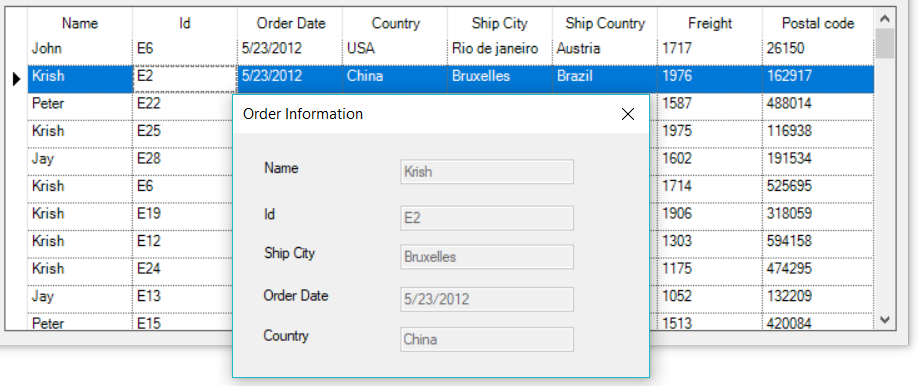 Shows the order details while double click on a cell