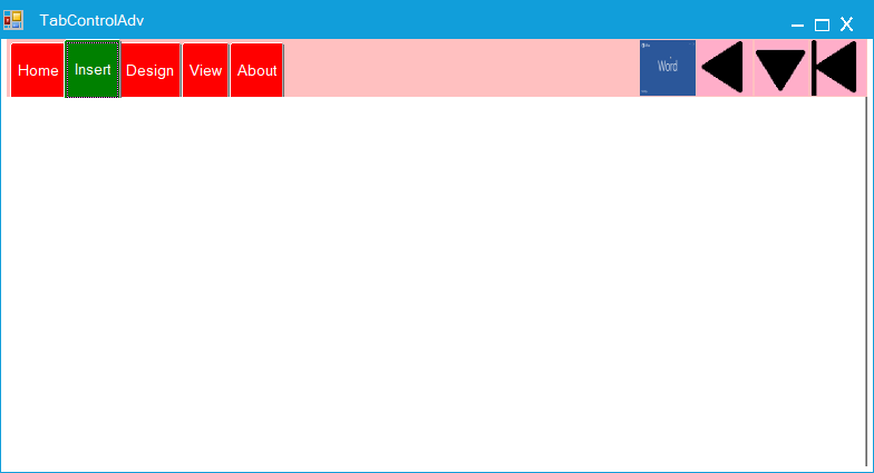 Change the navigation button size in TabControlAdv