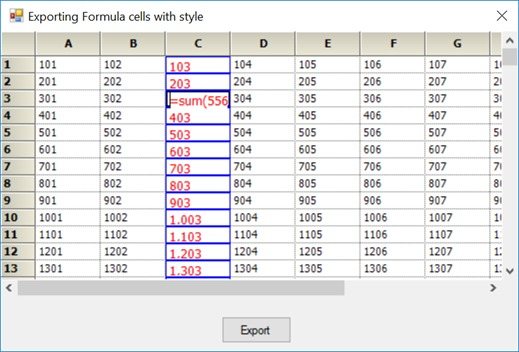 Showing formula cell exported with style