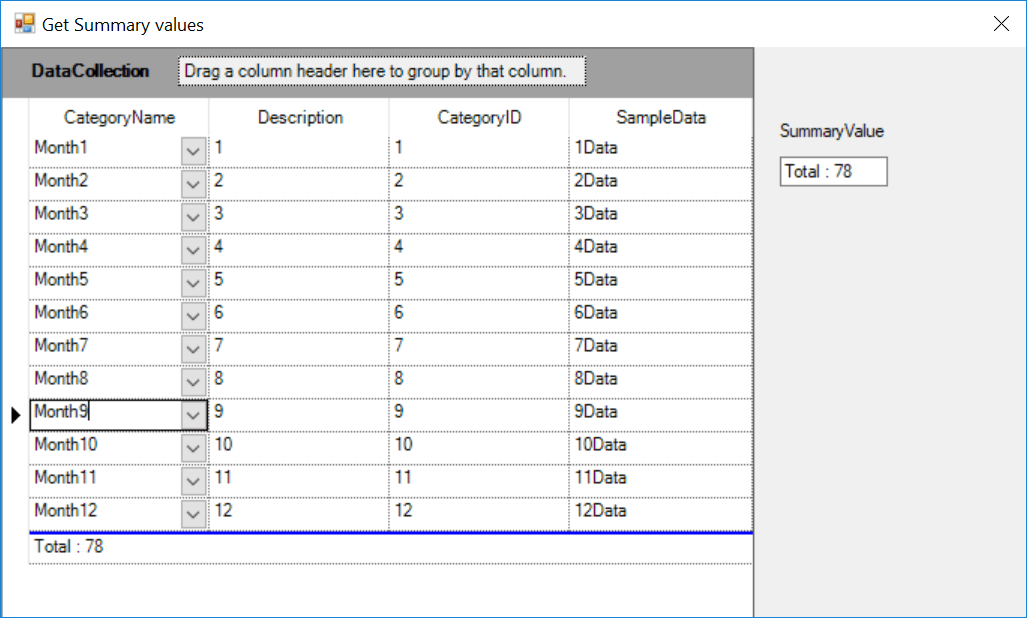 Get the summary values of grid summary row
