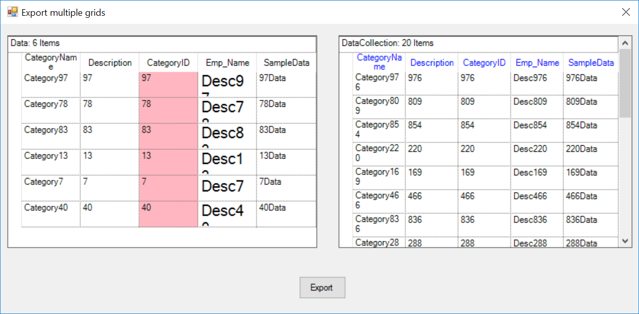 Export multiple grids