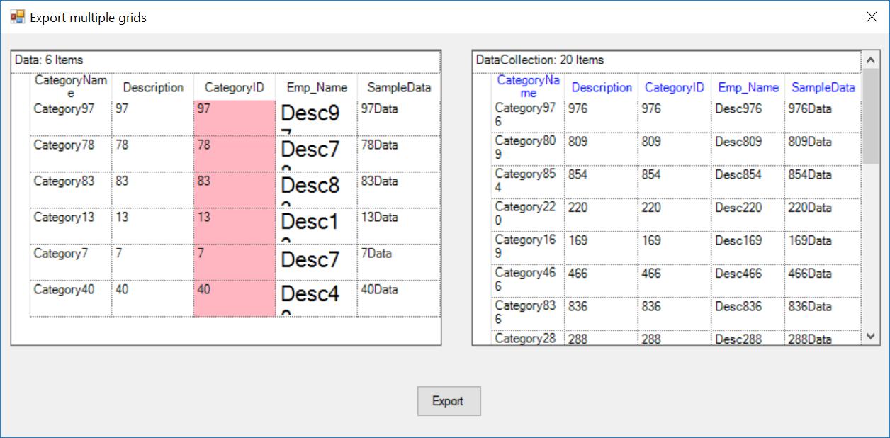 Export multiple grids