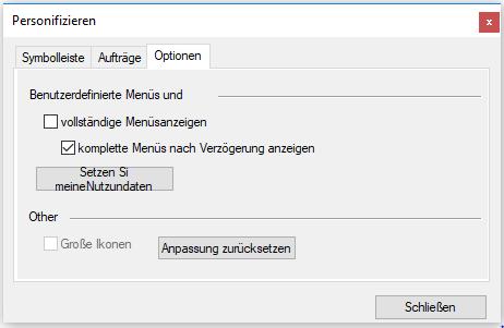 Show the customization dialog window