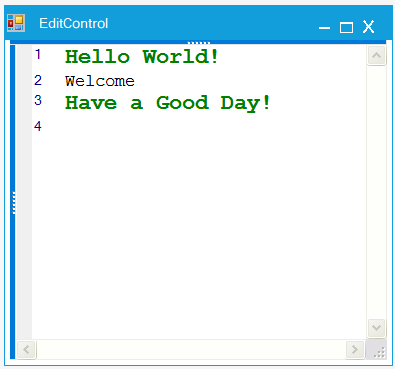 Showing different format of text in EditControl