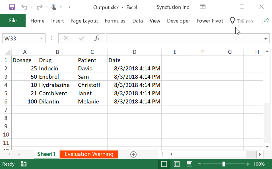 Create Excel from DataTable