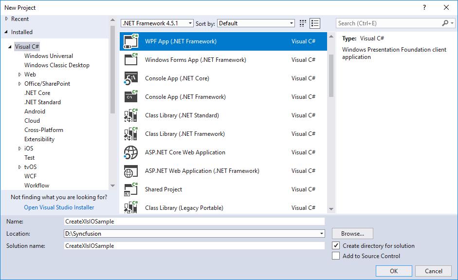 Create WPF application in Visual Studio