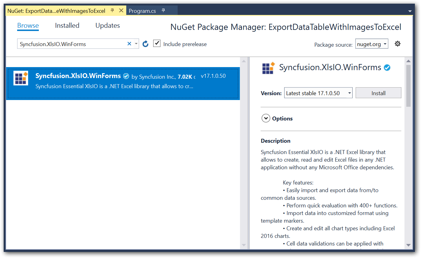 Install NuGet package to the project