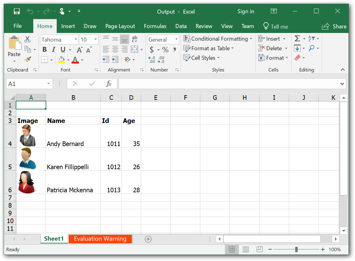 Export DataTable with Images to Excel