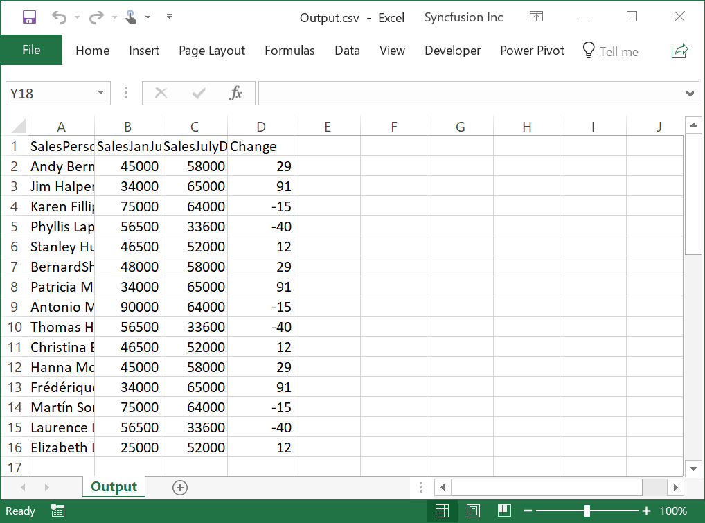 Output of the Exported CSV File in Excel