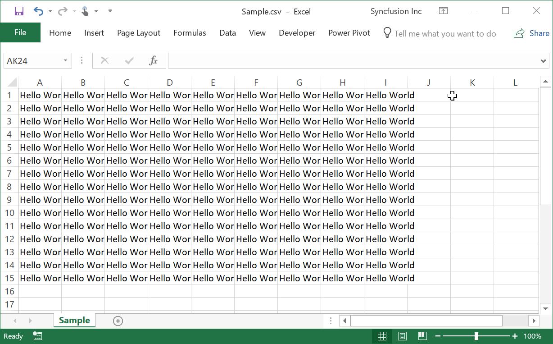 Create Excel File