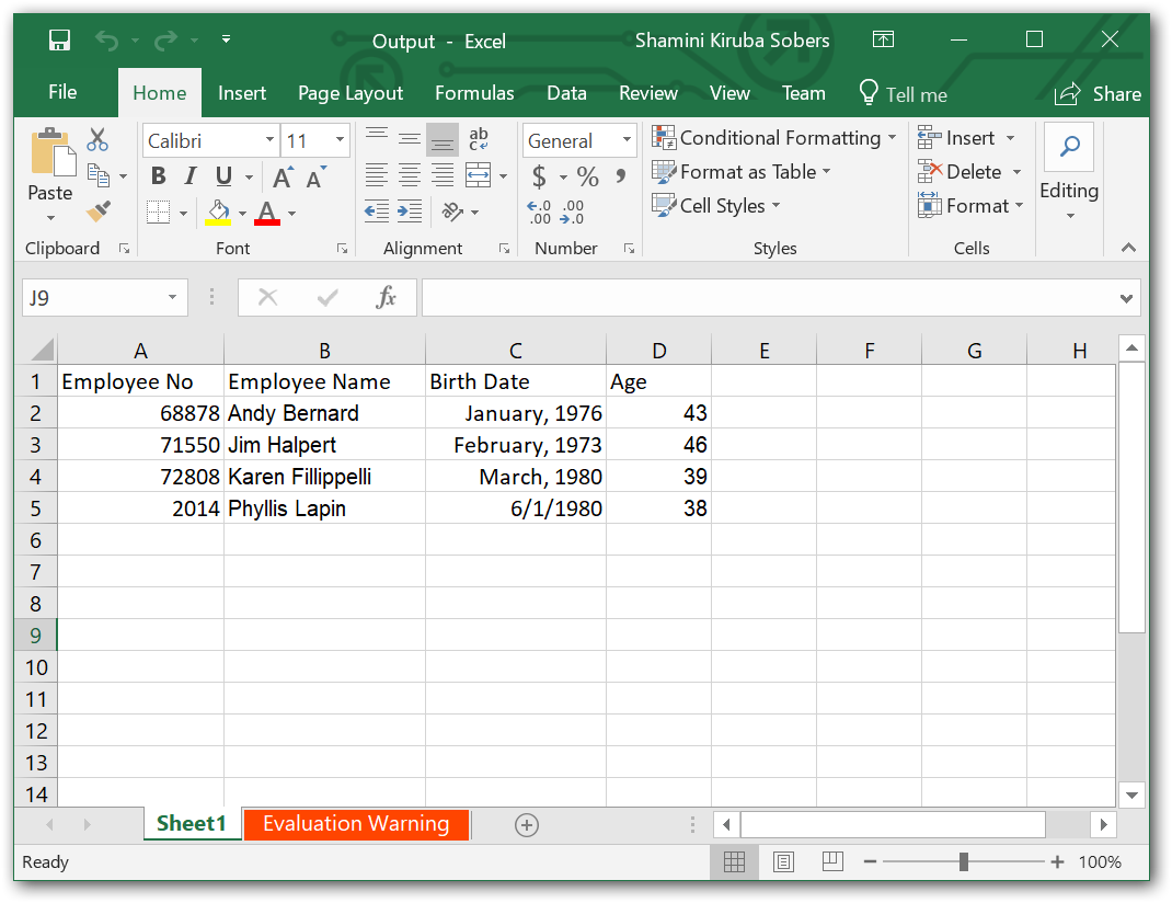 Edit an Excel File