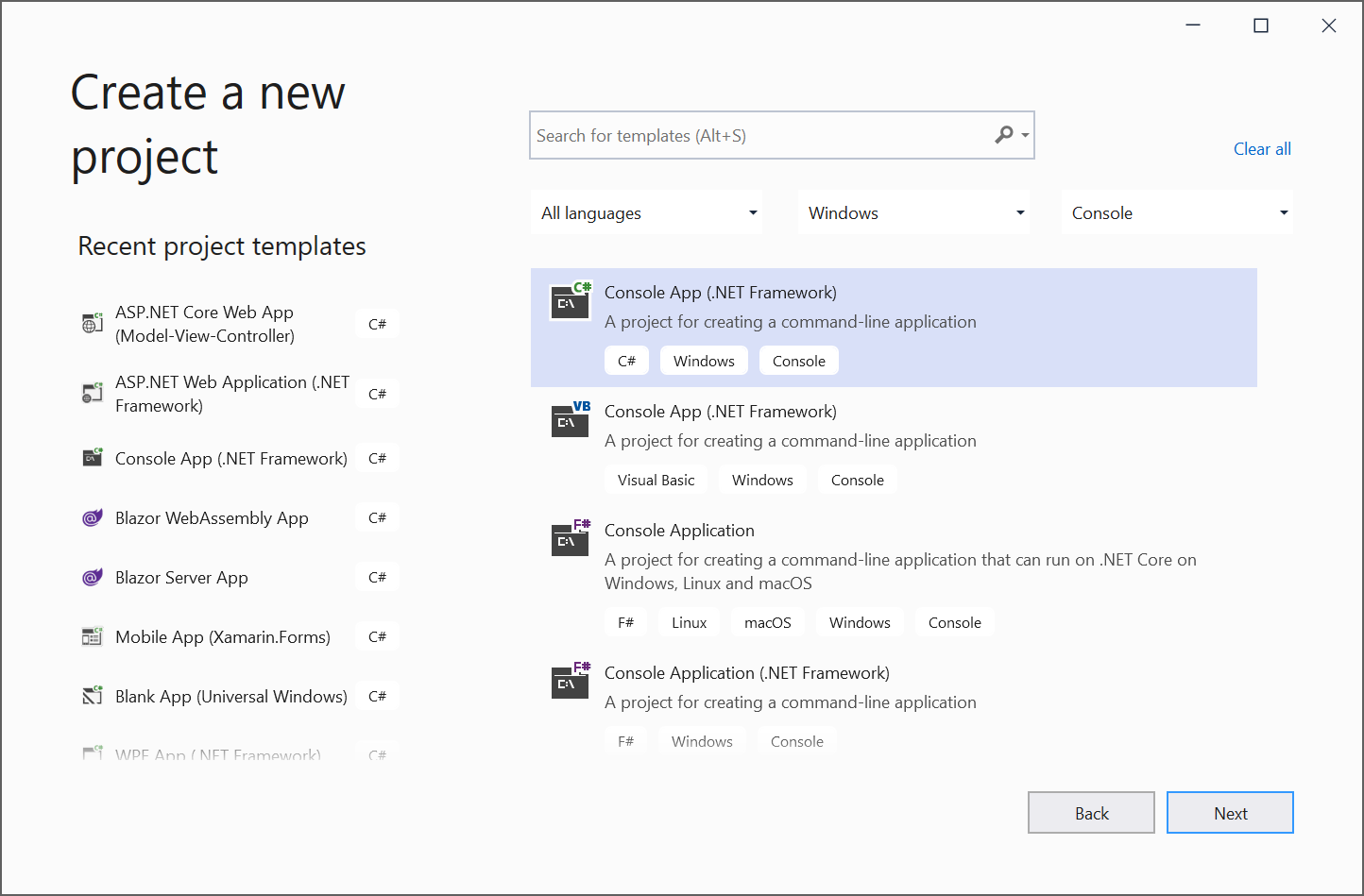 Create new C# console application in Visual Studio