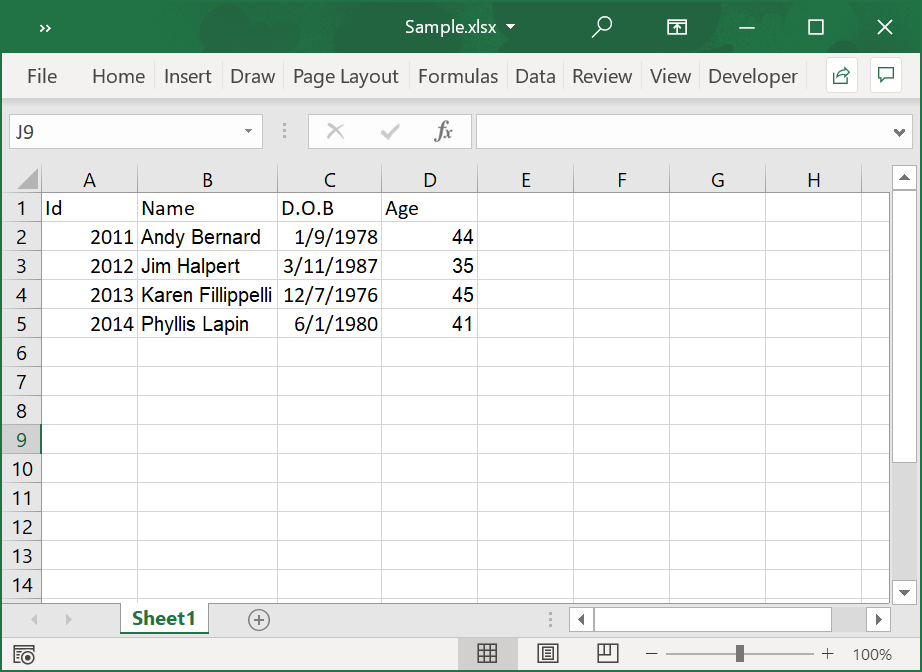 Sample Excel file used for iterating the cells in the used range and reading the Excel data
