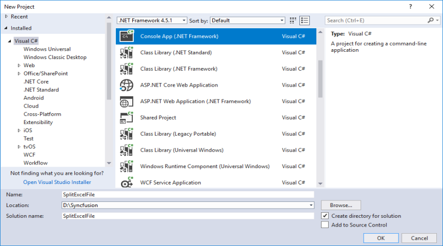 Create Console application in Visual Studio