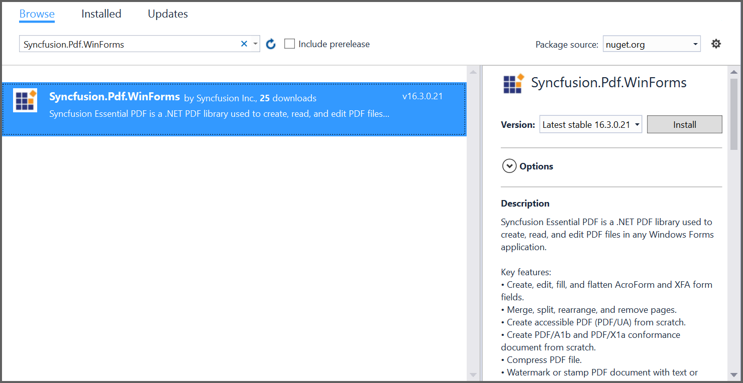 Install nuget packages