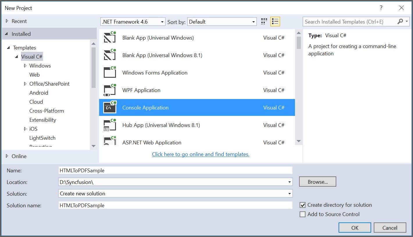 Create HTML to PDF C# application
