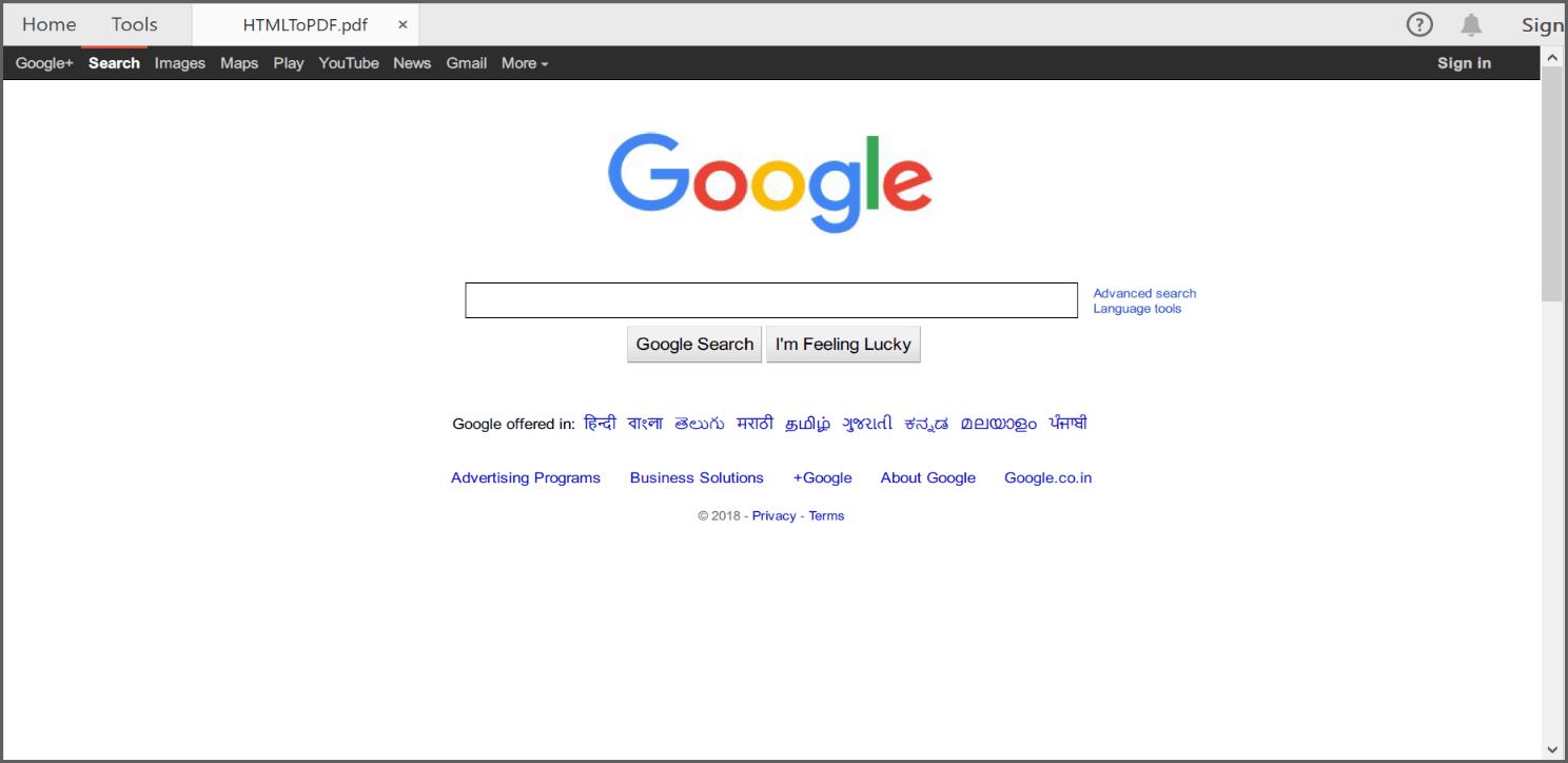 Screenshot of output PDF file