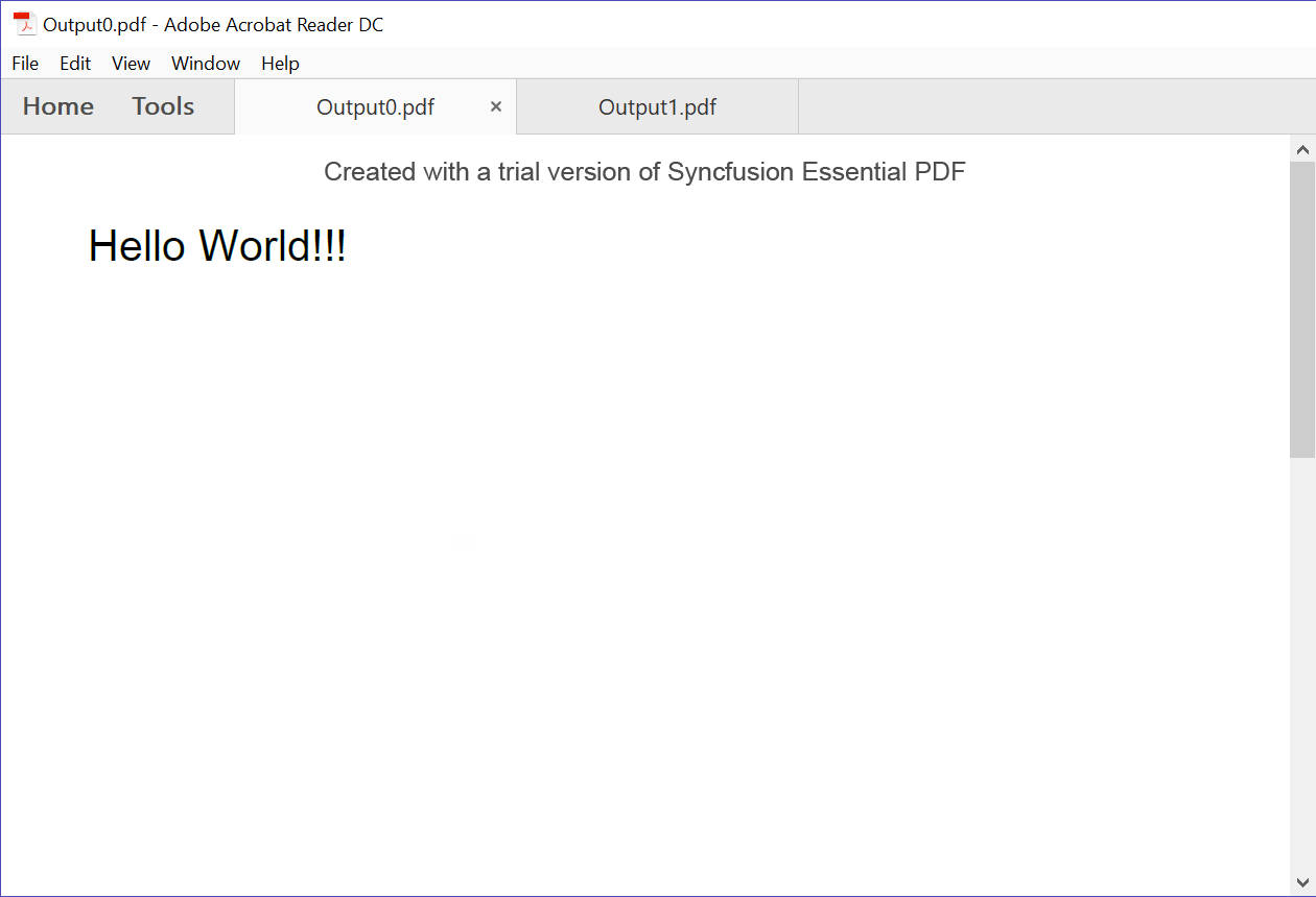 Output of splitted PDF File
