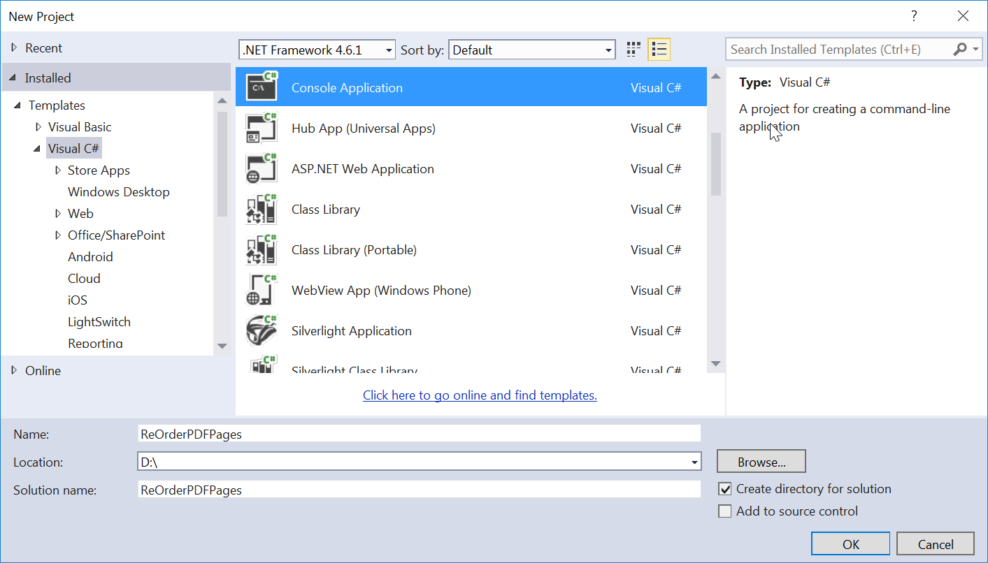 Create Empty Console Application in Visual Studio